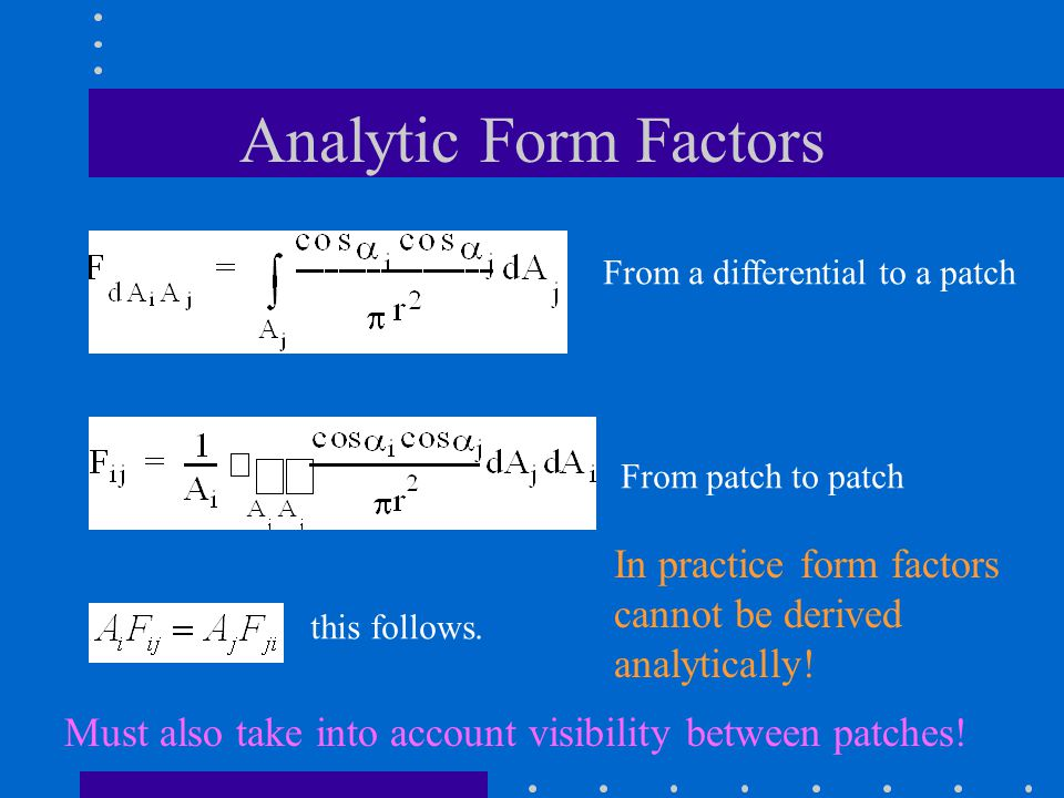 Analytic Form Factors From a differential to a patch From patch to patch this follows.