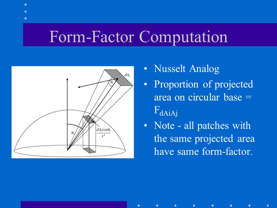 Form-Factor Computation Nusselt Analog Proportion of projected area on circular base = F dAiAj Note - all patches with the same projected area have same form-factor.