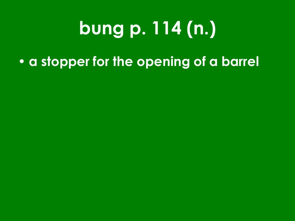 bung p. 114 (n.) a stopper for the opening of a barrel