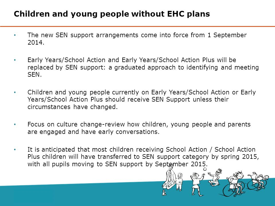 The new SEN support arrangements come into force from 1 September 2014.