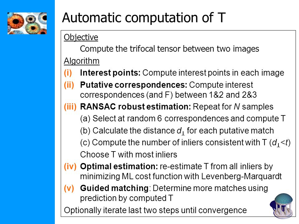 Objective Compute the trifocal tensor between two images Algorithm (i)Interest points: Compute interest points in each image (ii)Putative corresponden