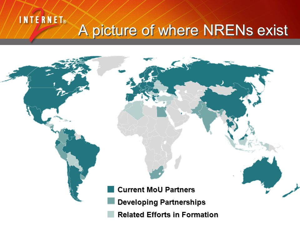 A picture of where NRENs exist Related Efforts in Formation Current MoU Partners Developing Partnerships