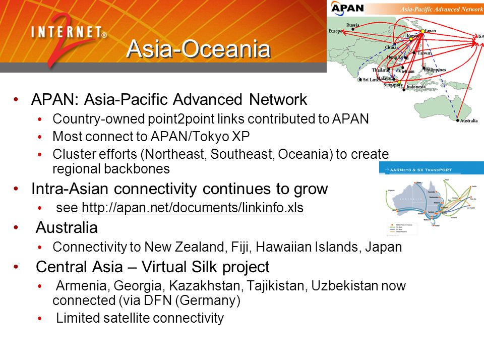 Asia-Oceania APAN: Asia-Pacific Advanced Network Country-owned point2point links contributed to APAN Most connect to APAN/Tokyo XP Cluster efforts (Northeast, Southeast, Oceania) to create regional backbones Intra-Asian connectivity continues to grow see http://apan.net/documents/linkinfo.xlshttp://apan.net/documents/linkinfo.xls Australia Connectivity to New Zealand, Fiji, Hawaiian Islands, Japan Central Asia – Virtual Silk project Armenia, Georgia, Kazakhstan, Tajikistan, Uzbekistan now connected (via DFN (Germany) Limited satellite connectivity