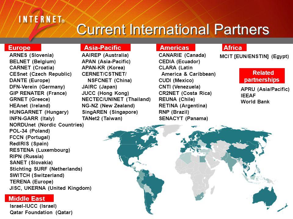 Current International Partners Asia-Pacific AAIREP (Australia) APAN (Asia-Pacific) APAN-KR (Korea) CERNET/CSTNET/ NSFCNET (China) JAIRC (Japan) JUCC (Hong Kong) NECTEC/UNINET (Thailand) NG-NZ (New Zealand) SingAREN (Singapore) TANet2 (Taiwan) Americas CANARIE (Canada) CEDIA (Ecuador) CLARA (Latin America & Caribbean) CUDI (Mexico) CNTI (Venezuela) CR2NET (Costa Rica) REUNA (Chile) RETINA (Argentina) RNP (Brazil) SENACYT (Panama) Europe ARNES (Slovenia) BELNET (Belgium) CARNET (Croatia) CESnet (Czech Republic) DANTE (Europe) DFN-Verein (Germany) GIP RENATER (France) GRNET (Greece) HEAnet (Ireland) HUNGARNET (Hungary) INFN-GARR (Italy) NORDUnet (Nordic Countries) POL-34 (Poland) FCCN (Portugal) RedIRIS (Spain) RESTENA (Luxembourg) RIPN (Russia) SANET (Slovakia) Stichting SURF (Netherlands) SWITCH (Switzerland) TERENA (Europe) JISC, UKERNA (United Kingdom) Related partnerships APRU (Asia/Pacific) IEEAF World Bank Africa MCIT [EUN/ENSTIN] (Egypt) Middle East Israel-IUCC (Israel) Qatar Foundation (Qatar)