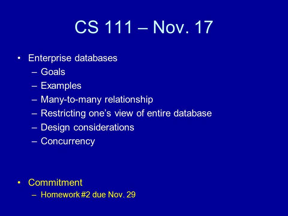 CS 111 – Nov.