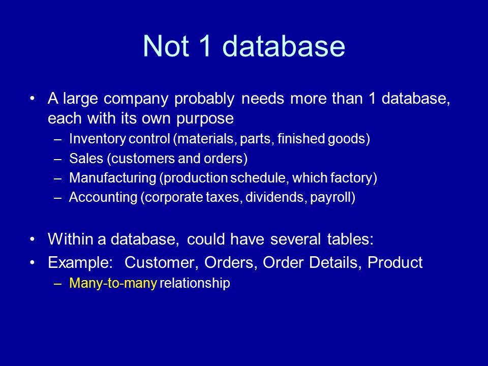Not 1 database A large company probably needs more than 1 database, each with its own purpose –Inventory control (materials, parts, finished goods) –Sales (customers and orders) –Manufacturing (production schedule, which factory) –Accounting (corporate taxes, dividends, payroll) Within a database, could have several tables: Example: Customer, Orders, Order Details, Product –Many-to-many relationship
