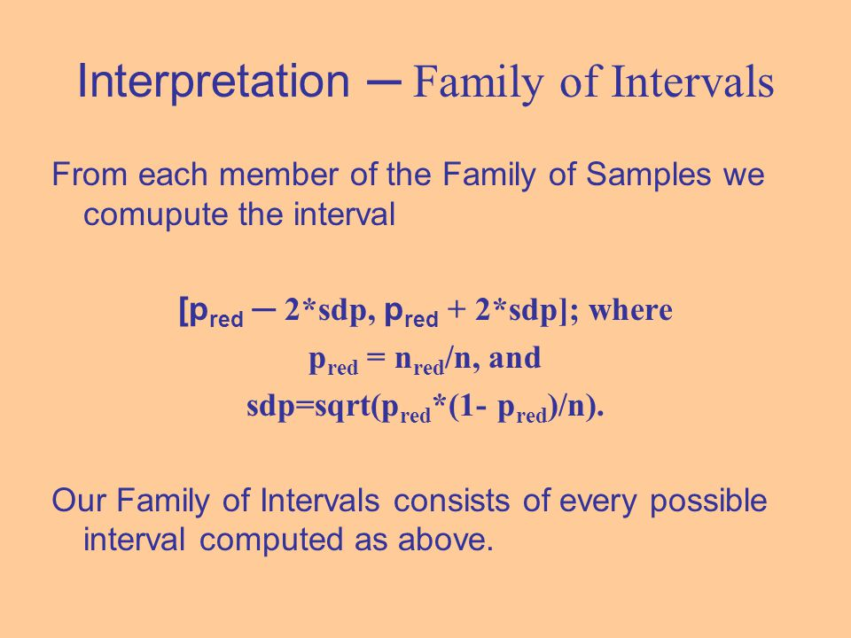 Interpretation ─ Family of Intervals From each member of the Family of Samples we comupute the interval [p red ─ 2*sdp, p red + 2*sdp]; where p red =