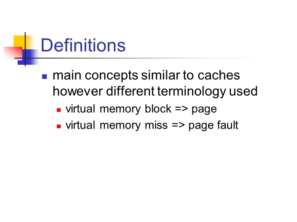 Definitions main concepts similar to caches however different terminology used virtual memory block => page virtual memory miss => page fault