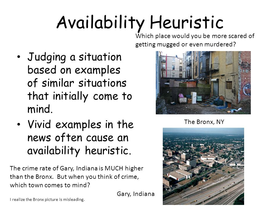 Availability Heuristic Judging a situation based on examples of similar situations that initially come to mind.