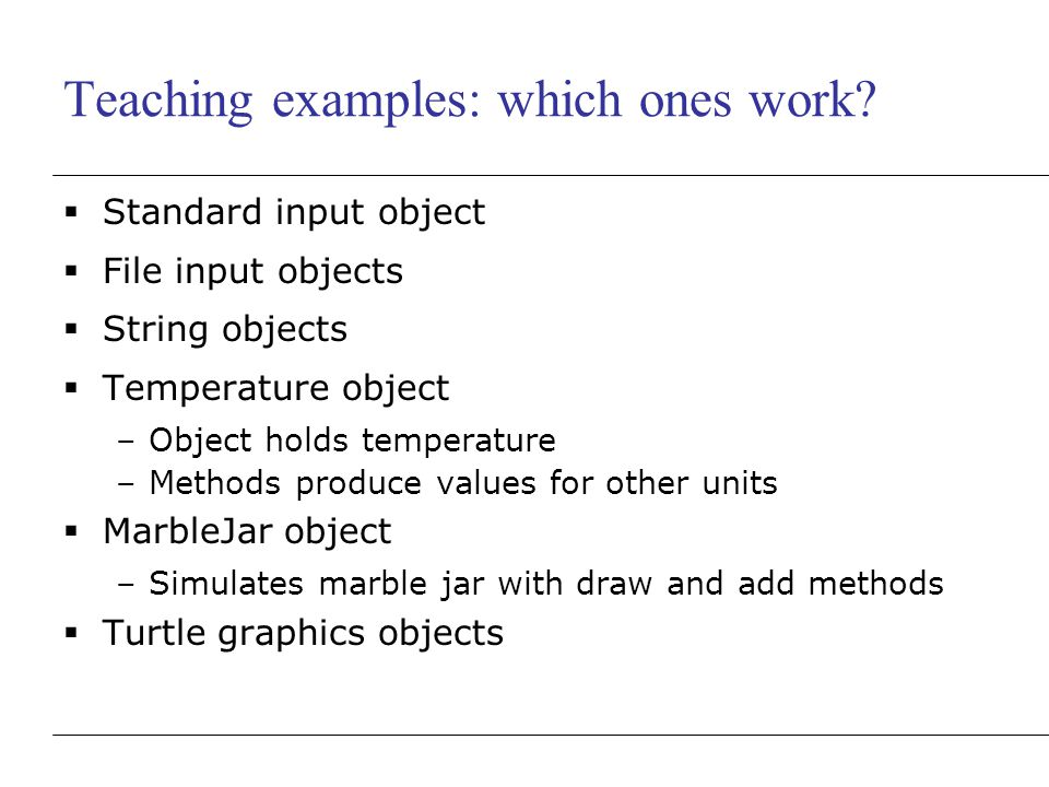 Teaching examples: which ones work.