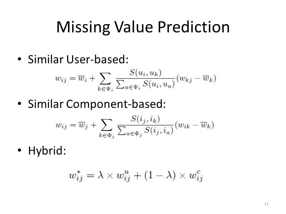 Missing Value Prediction Similar User-based: Similar Component-based: Hybrid: 11