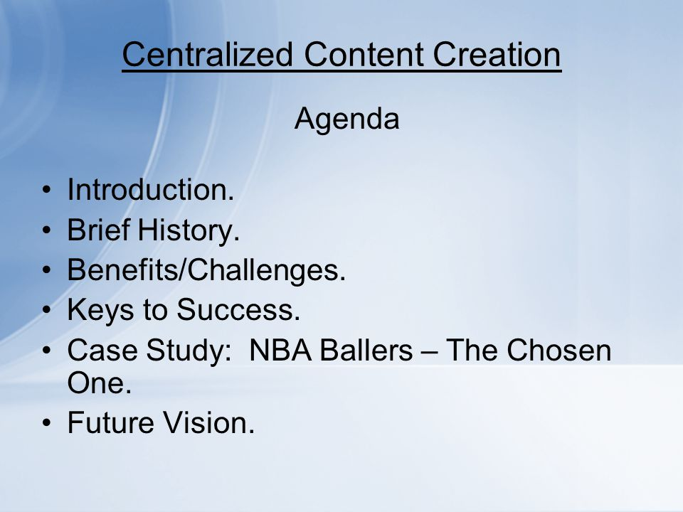 Centralized Content Creation Demo: Case Study – NBA Ballers: Chosen One