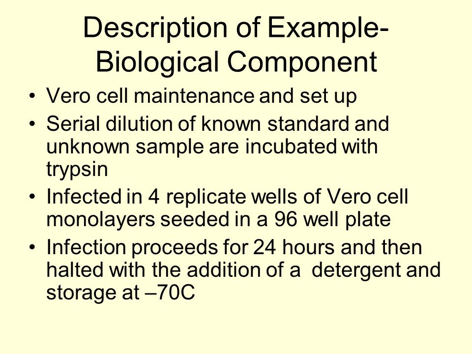 Description of Example- Biological Component Vero cell maintenance and set up Serial dilution of known standard and unknown sample are incubated with trypsin Infected in 4 replicate wells of Vero cell monolayers seeded in a 96 well plate Infection proceeds for 24 hours and then halted with the addition of a detergent and storage at –70C