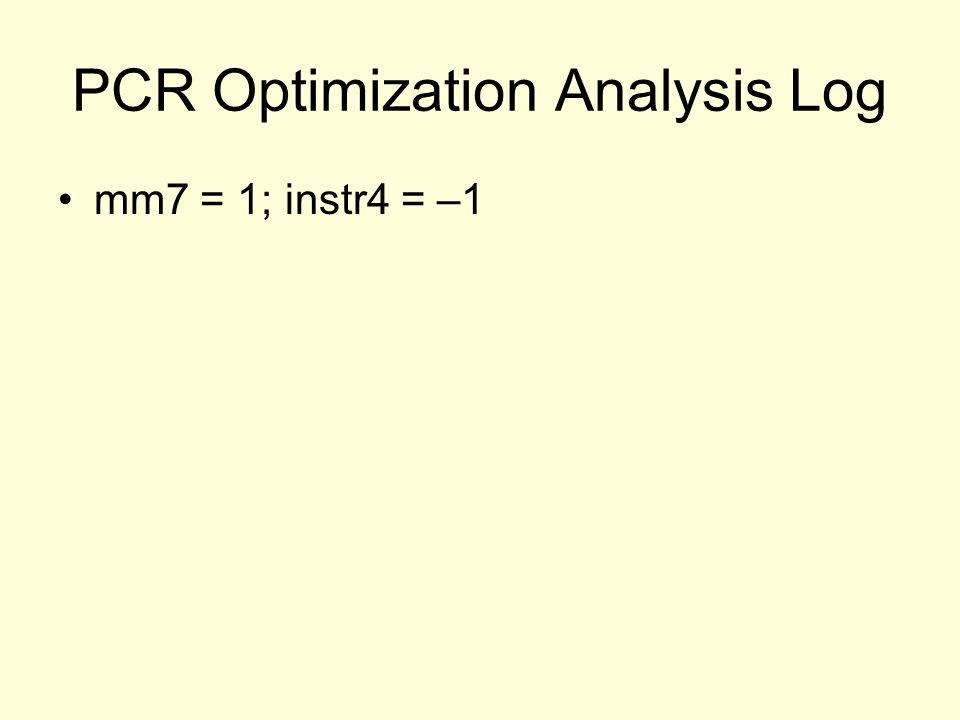 PCR Optimization Analysis Log mm7 = 1; instr4 = –1