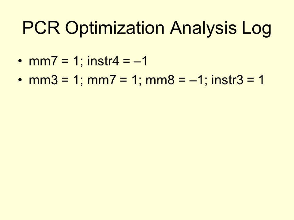 PCR Optimization Analysis Log mm7 = 1; instr4 = –1 mm3 = 1; mm7 = 1; mm8 = –1; instr3 = 1