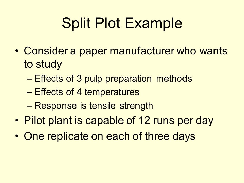Split Plot Example Consider a paper manufacturer who wants to study –Effects of 3 pulp preparation methods –Effects of 4 temperatures –Response is tensile strength Pilot plant is capable of 12 runs per day One replicate on each of three days