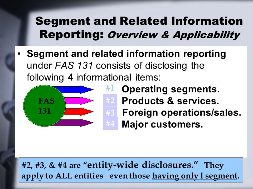 Segment Reporting: Disclosures Required—Cash Flow Information Reporting segment cash flows is NOT required.