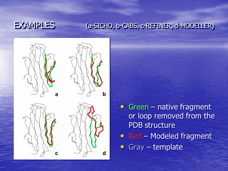 EXAMPLES (a-SICHO, b-CABS, c-REFINER, d-MODELLER) Green – native fragment or loop removed from the PDB structure Red – Modeled fragment Gray – templat