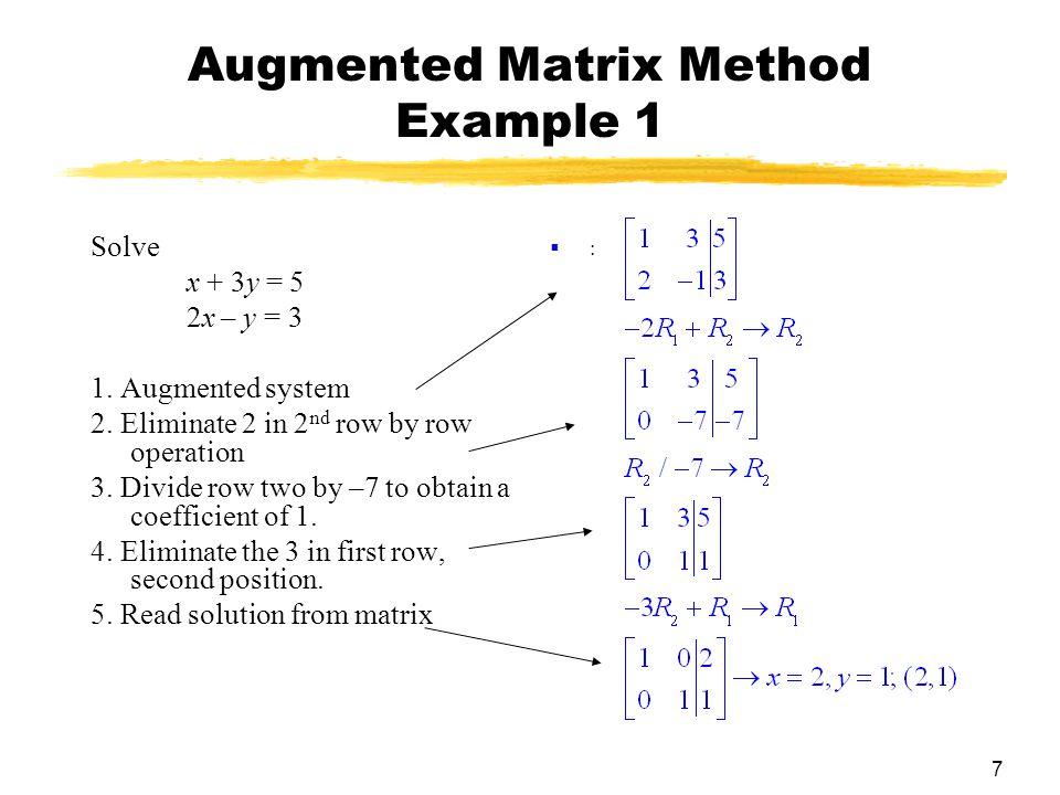 7 Augmented Matrix Method Example 1 Solve x + 3y = 5 2x – y = 3 1.