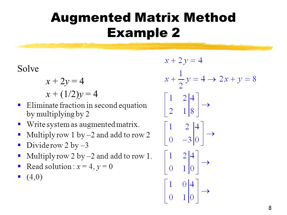 8 Augmented Matrix Method Example 2 Solve x + 2y = 4 x + (1/2)y = 4  Eliminate fraction in second equation by multiplying by 2  Write system as augmented matrix.