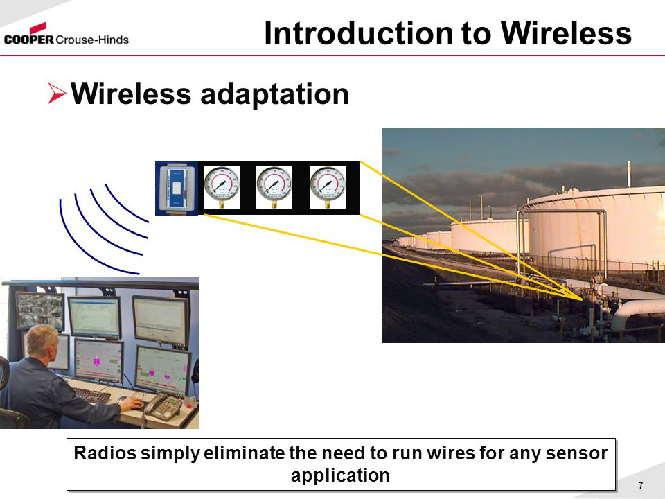 7  Wireless adaptation Radios simply eliminate the need to run wires for any sensor application Introduction to Wireless