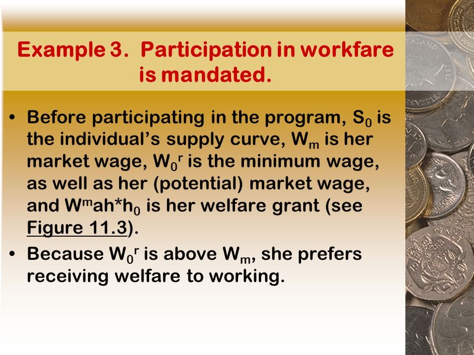 Example 3. Participation in workfare is mandated.