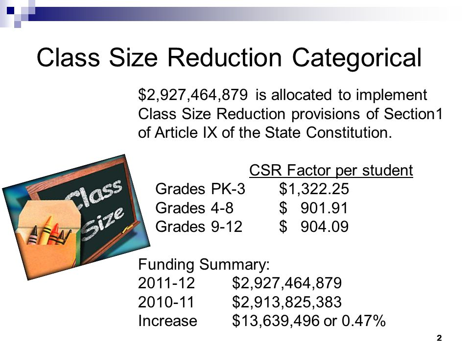 Class Size Reduction Categorical $2,927,464,879 is allocated to implement Class Size Reduction provisions of Section1 of Article IX of the State Const