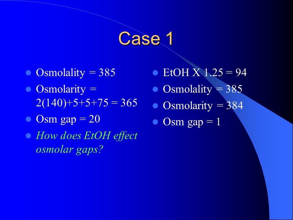 Case 1 Osmolality = 385 Osmolarity = 2(140)+5+5+75 = 365 Osm gap = 20 How does EtOH effect osmolar gaps? EtOH X 1.25 = 94 Osmolality = 385 Osmolarity