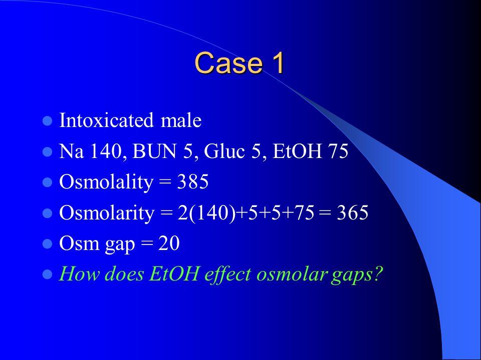 Case 1 Intoxicated male Na 140, BUN 5, Gluc 5, EtOH 75 Osmolality = 385 Osmolarity = 2(140)+5+5+75 = 365 Osm gap = 20 How does EtOH effect osmolar gaps?