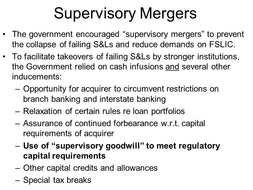 Supervisory Goodwill Under the purchase method of accounting , the excess of liabilities over assets in the acquired institution is designated as supervisory goodwill and treated as a form of intangible capital.