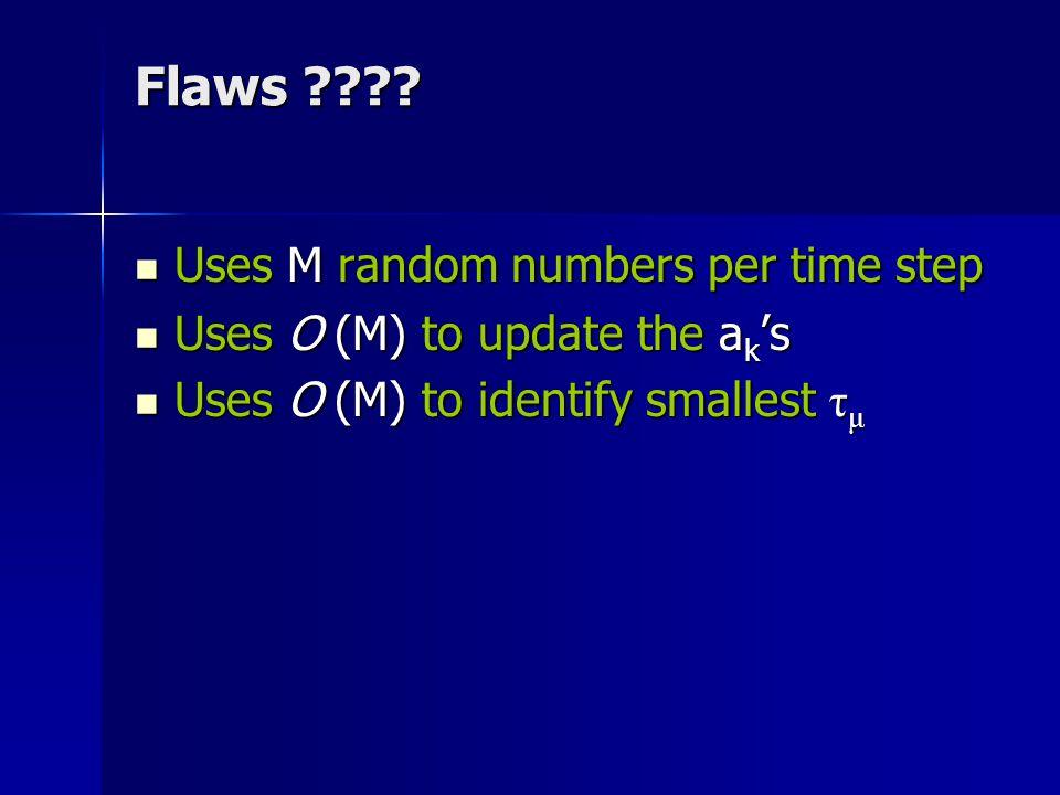 Flaws ???? Uses M random numbers per time step Uses M random numbers per time step Uses O (M) to update the a k 's Uses O (M) to update the a k 's Use