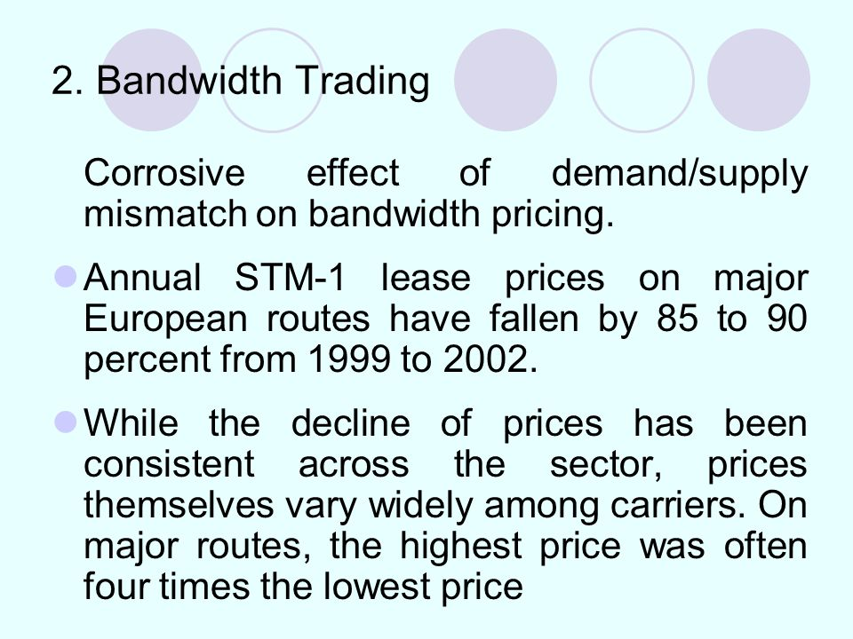 2. Bandwidth Trading Corrosive effect of demand/supply mismatch on bandwidth pricing.