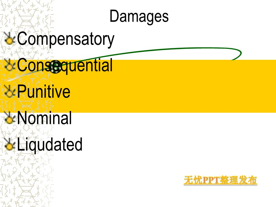 Damages Compensatory Consequential Punitive Nominal Liqudated