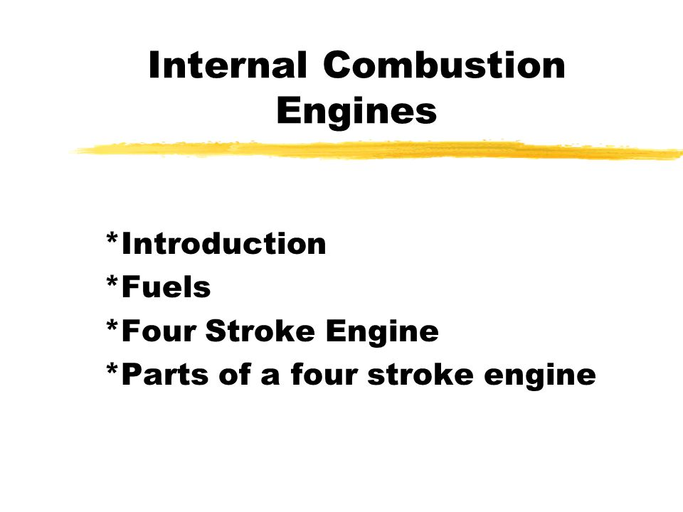 The four-stroke cycle zThe piston starts at the top, the intake valve opens and the piston moves down to let the engine take in a full cylinder of air and gasoline during the intake stroke z The piston then moves up to compress the air/gasoline mixture.