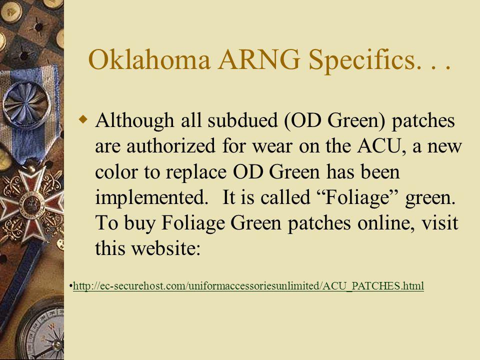 Oklahoma ARNG Specifics...