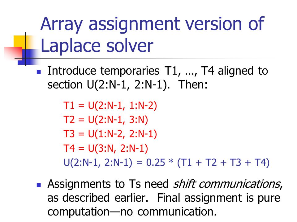 Array assignment version of Laplace solver Introduce temporaries T1, …, T4 aligned to section U(2:N-1, 2:N-1).