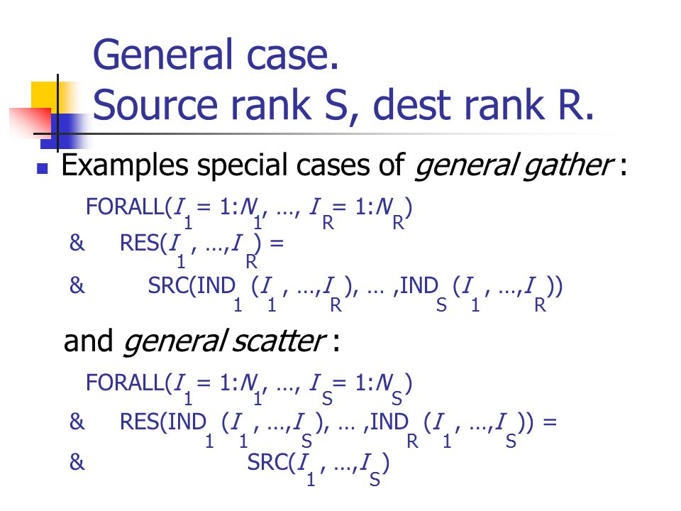 General case. Source rank S, dest rank R.