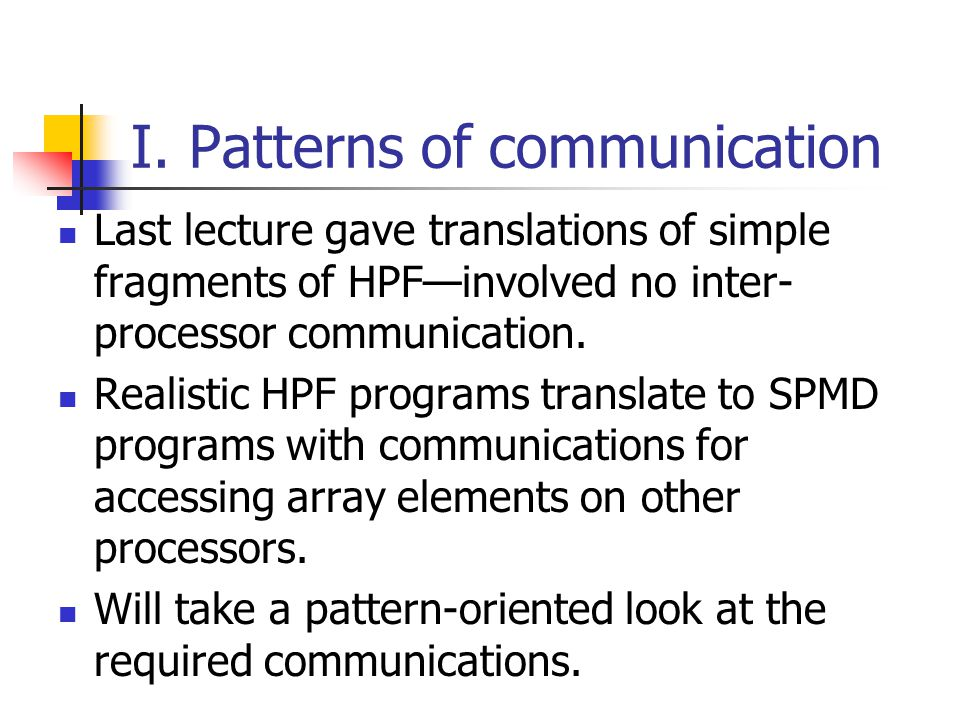 Communication schedules All collective operations based on communication schedule objects.