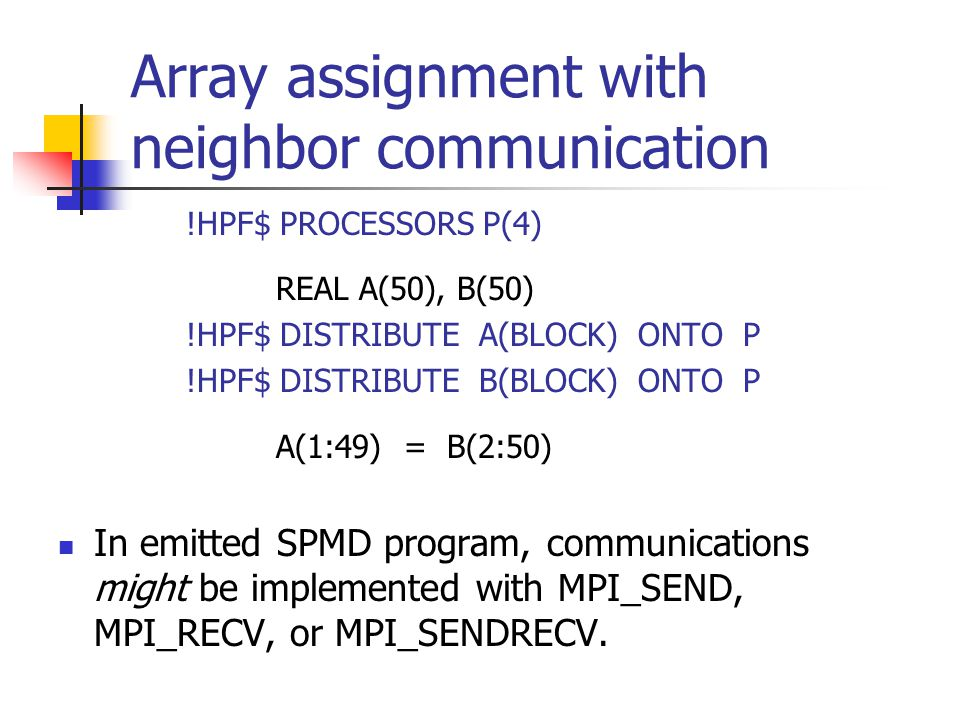 Array assignment with neighbor communication !HPF$ PROCESSORS P(4) REAL A(50), B(50) !HPF$ DISTRIBUTE A(BLOCK) ONTO P !HPF$ DISTRIBUTE B(BLOCK) ONTO P A(1:49) = B(2:50) In emitted SPMD program, communications might be implemented with MPI_SEND, MPI_RECV, or MPI_SENDRECV.
