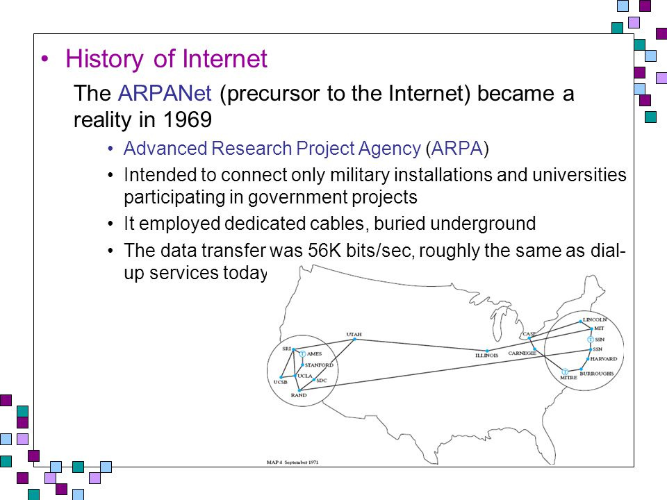 By 1980, close to 100 sites were connected to the ARPANet Satellite connections provided links to select cities outside the continental U.S.