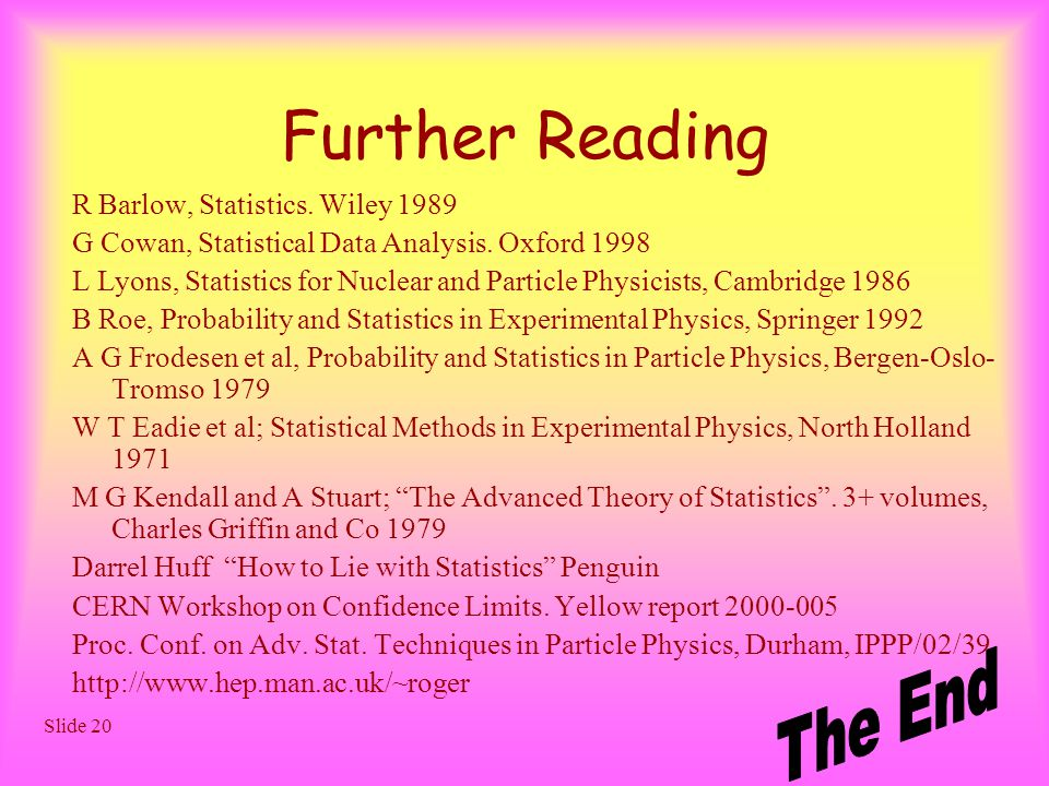 Slide 20 Further Reading R Barlow, Statistics. Wiley 1989 G Cowan, Statistical Data Analysis.