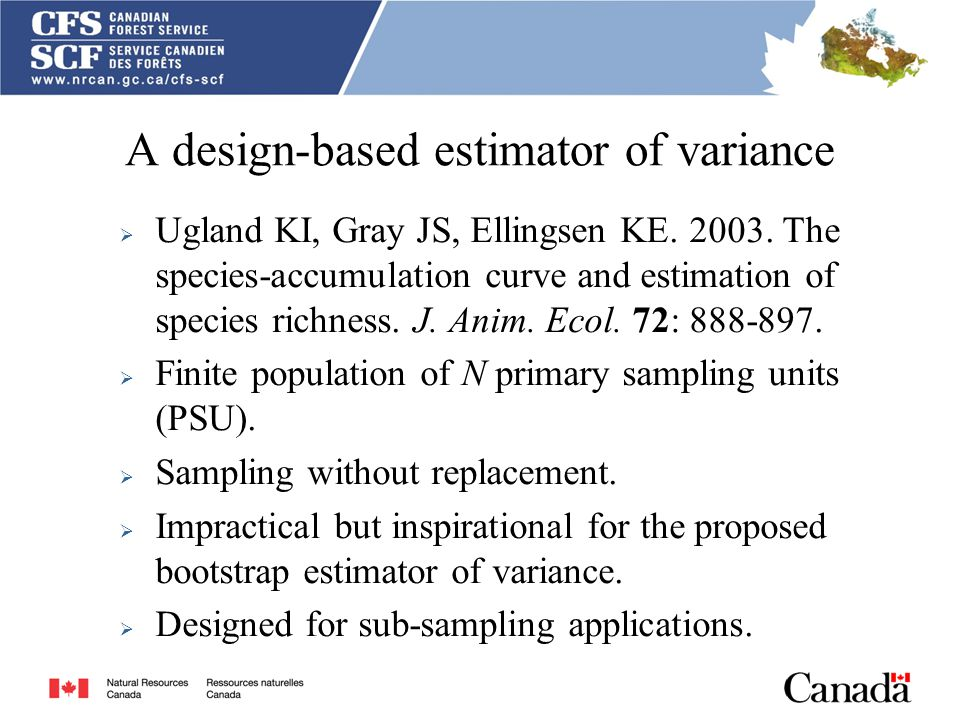 A design-based estimator of variance  Ugland KI, Gray JS, Ellingsen KE.