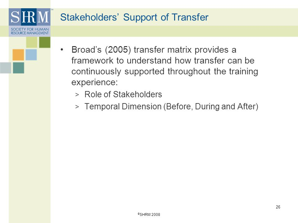 © SHRM 2008 26 Stakeholders' Support of Transfer Broad's (2005) transfer matrix provides a framework to understand how transfer can be continuously su