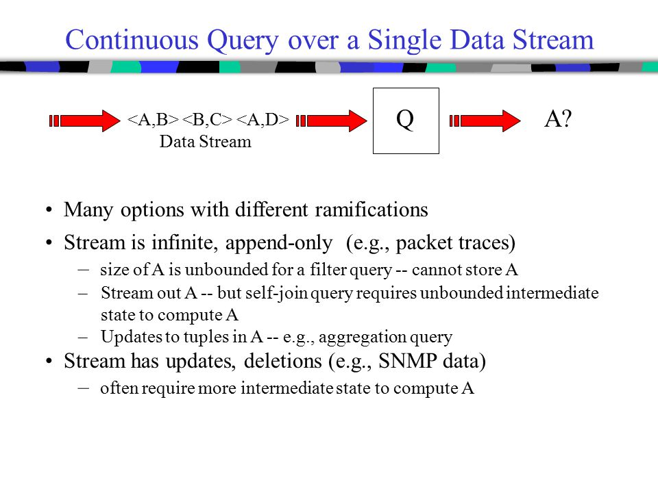 Continuous Query over a Single Data Stream Many options with different ramifications Q A? Stream is infinite, append-only (e.g., packet traces) – size