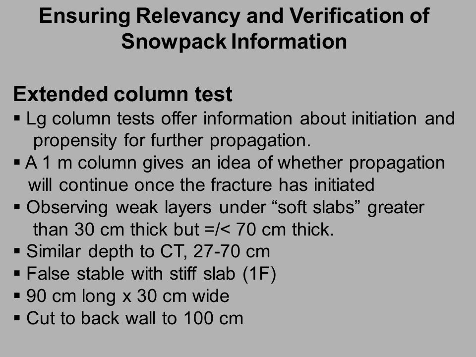 Extended column test  Lg column tests offer information about initiation and propensity for further propagation.
