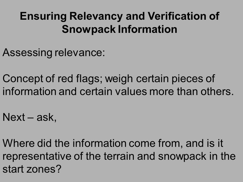 Checklists to evaluate snow profile