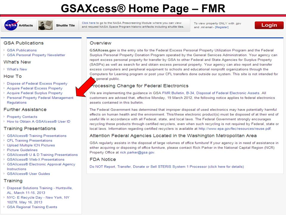 Federal Acquisition Service U.S. General Services Administration GSAXcess® Home Page – FMR