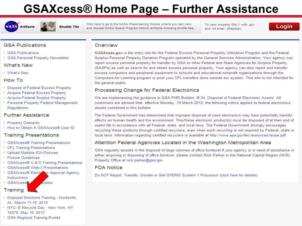 Federal Acquisition Service U.S. General Services Administration GSAXcess® Home Page – Further Assistance