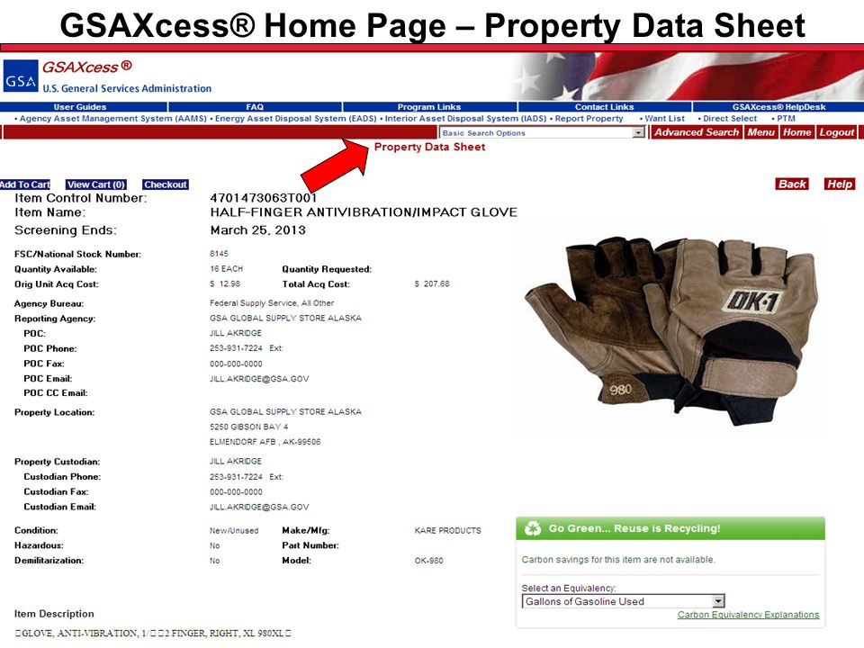 Federal Acquisition Service U.S. General Services Administration GSAXcess® Home Page – Property Data Sheet