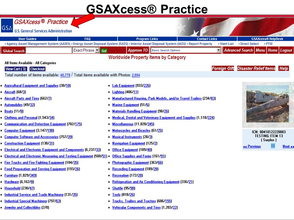 Federal Acquisition Service U.S. General Services Administration GSAXcess® Practice